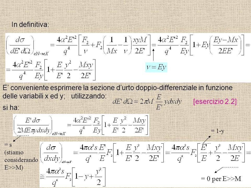 delle variabili x ed y; utilizzando: [esercizio 2.2] si ha: